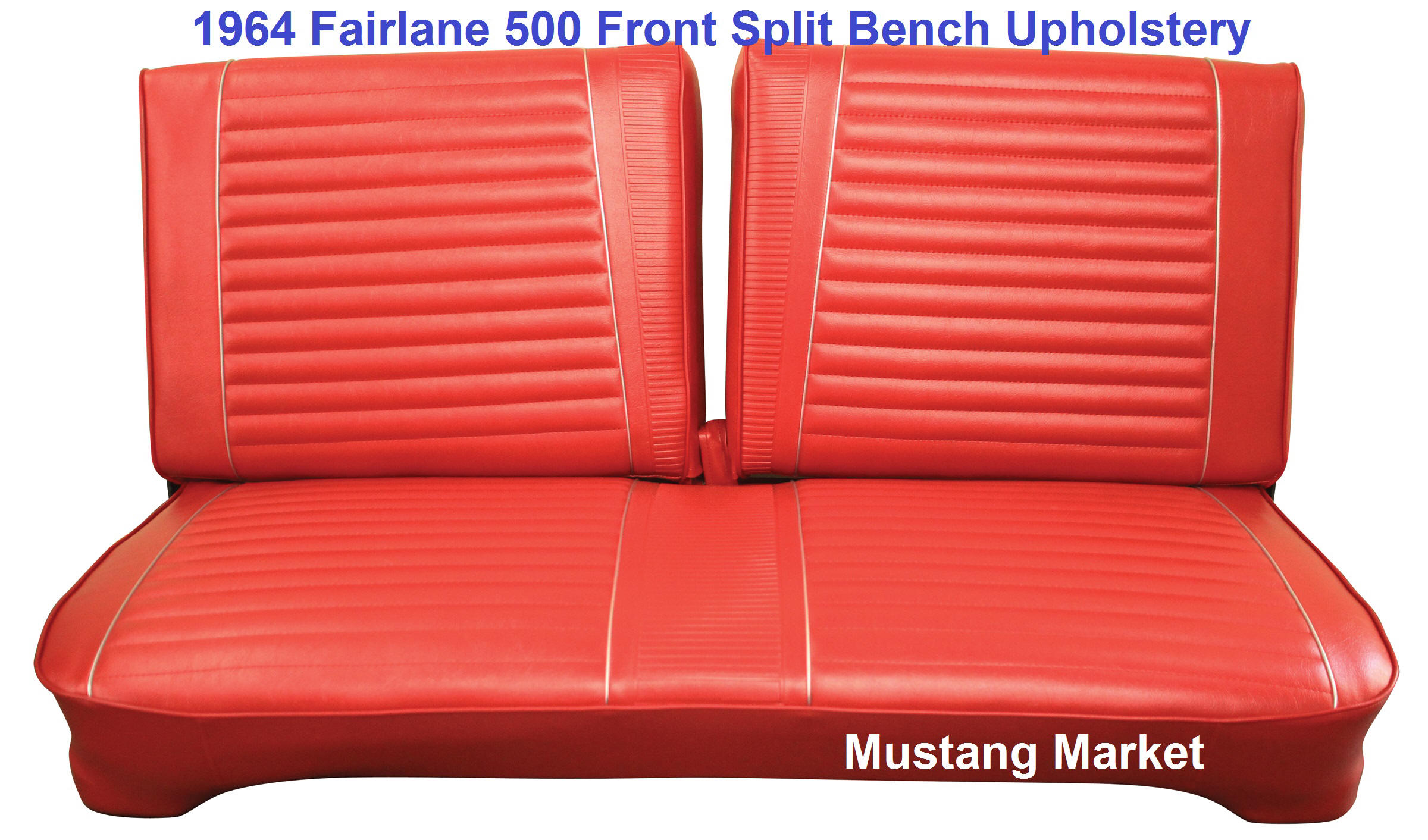 Very Impressive portraiture of 1964 Fairlane 500 Split Bench Seat Upholstery with #BA1E11 color and 2400x1412 pixels