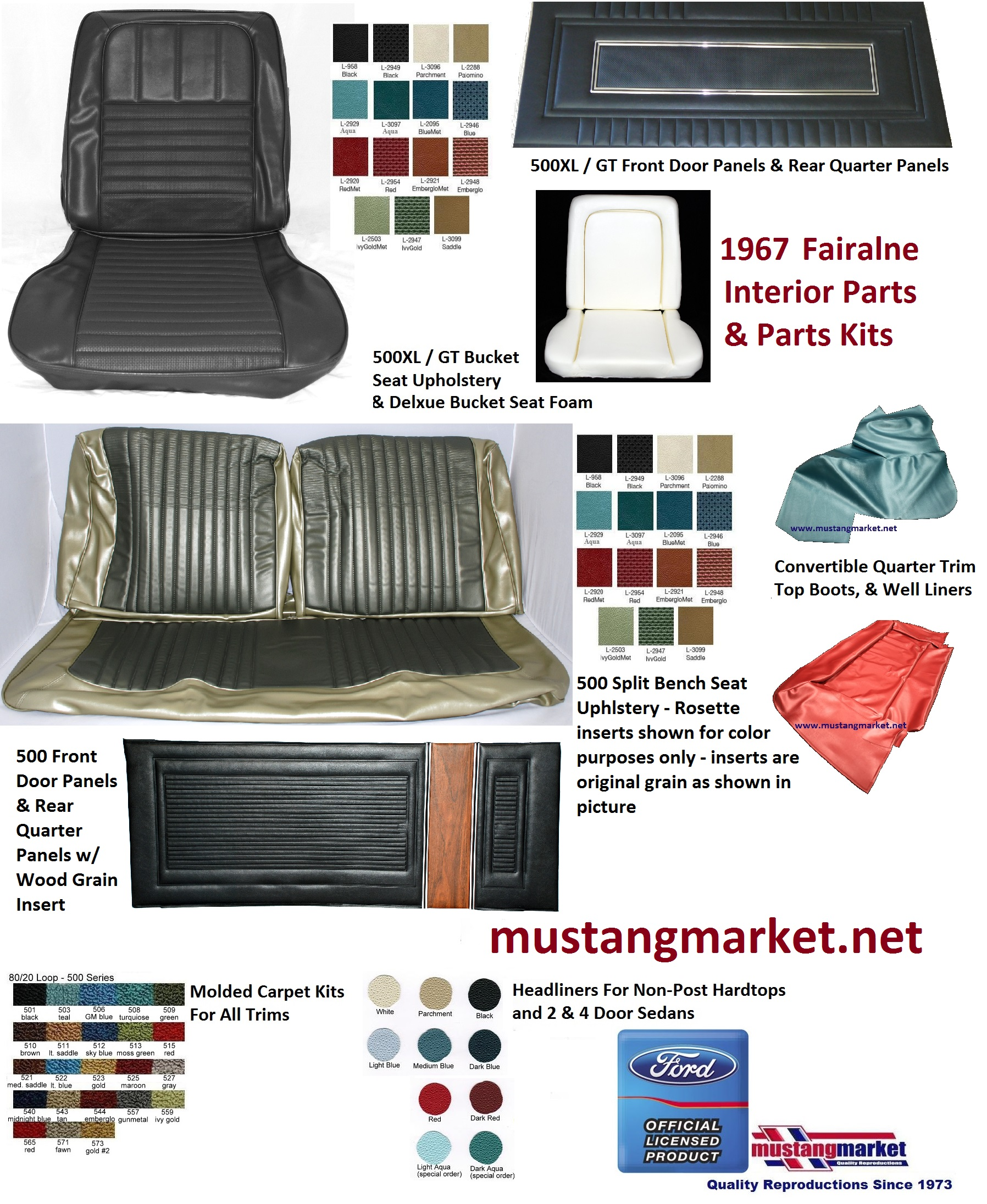 1967 67 Fairlane Interior Kits