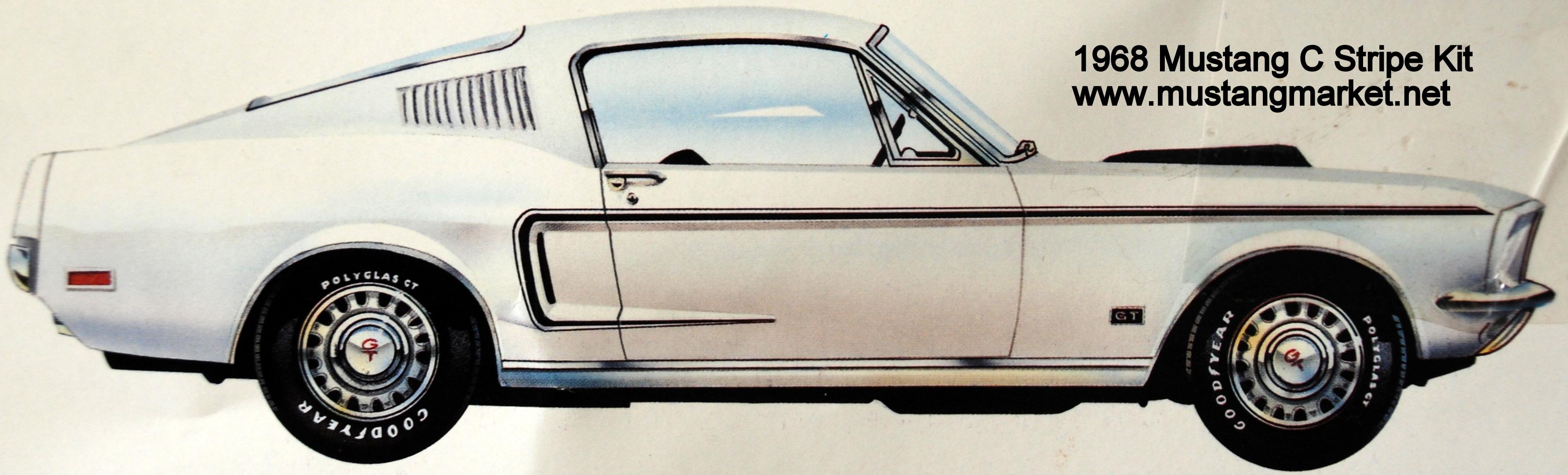 1968 68 mustang c stripes