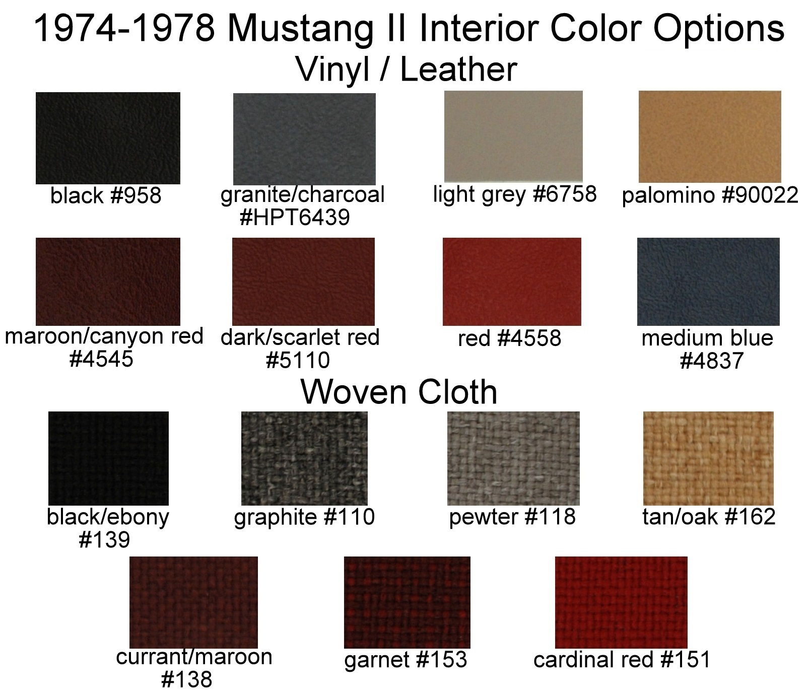 Mustang Ii Interior Upholstery Color Options