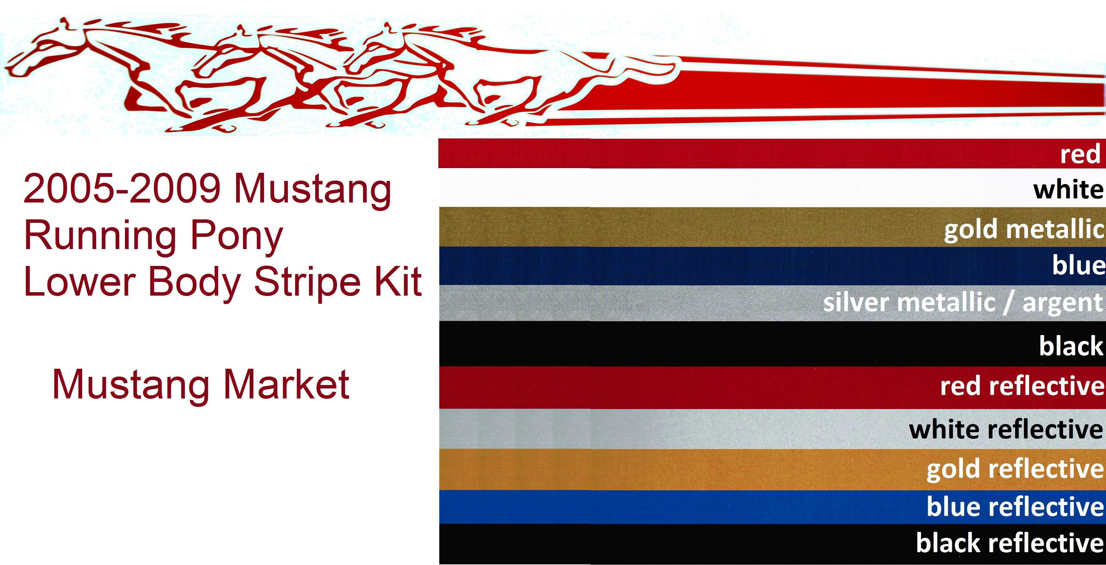 Mustang Decals And Stripes >> 2005-2009 Mustang Running Pony Stripes - Lower Side Stripe Kit