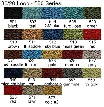 1957, 1958, 1959 Ford Ranchero Molded Carpet Color Options